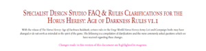 New Horus Heresy FAQ Is Out!
